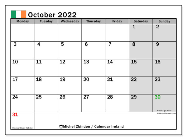 Printable October 2022 Calendar, Ireland