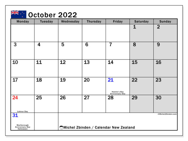 Printable October 2022 Calendar, New Zealand