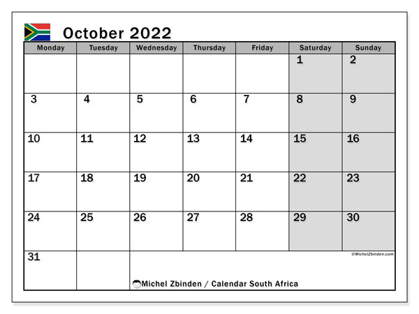 Printable October 2022 Calendar, South Africa