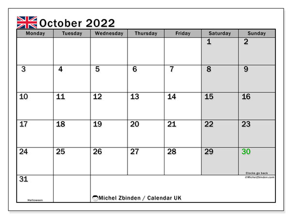 Printable October 2022 Calendar, UK