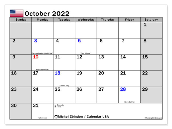 Printable October 2022 Calendar, USA