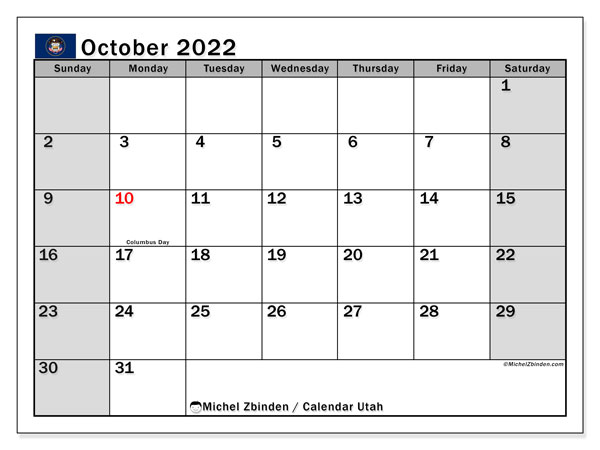Utah Events Calendar 2022.Printable October 2022 Utah Calendar Michel Zbinden En
