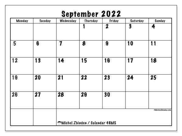 Calendar September 2022.Printable September 2022 48ms Calendar Michel Zbinden En