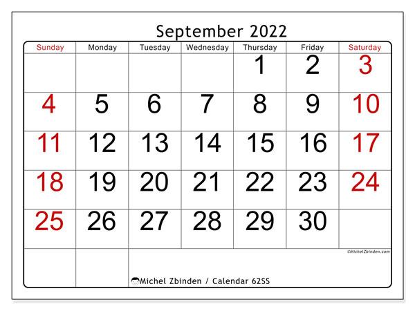 Monthly Calendar September 2022.Printable September 2022 62ss Calendar Michel Zbinden En