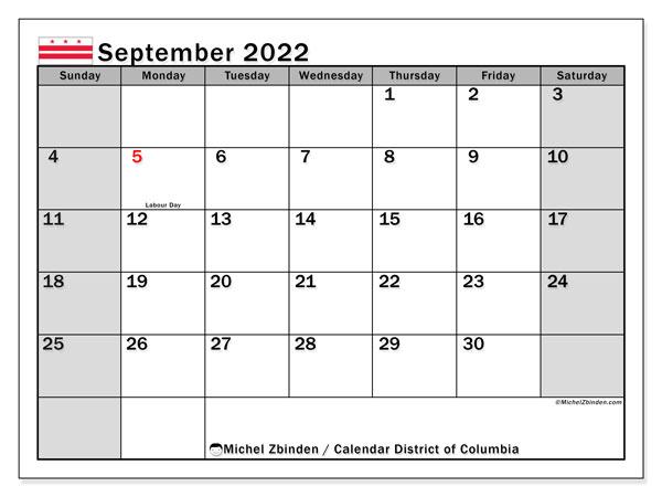 Columbia Calendar 2022.Printable September 2022 District Of Columbia Calendar Michel Zbinden En