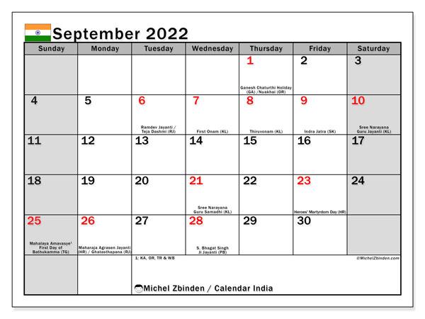 Calendar September 2022.Printable September 2022 India Ss Calendar Michel Zbinden En