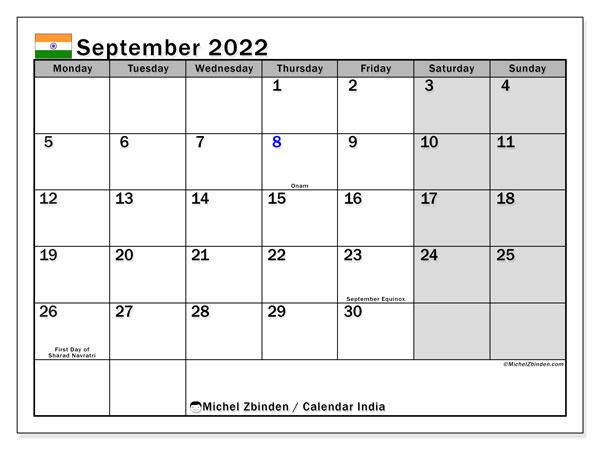 Printable Monthly Calendar September 2022.Printable September 2022 India Calendar Michel Zbinden En