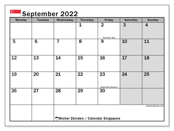 Sept 2022 Calendar.September 2022 Calendars Public Holidays Michel Zbinden En