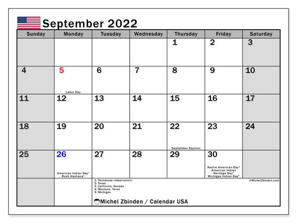 2022 Calendar With Holidays Usa.Printable September 2022 Usa Calendar Michel Zbinden En