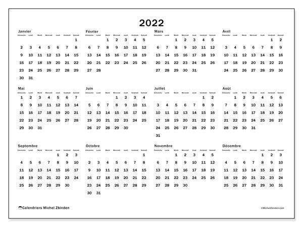 """Calendrier Annuel 2022 à Imprimer Gratuit Calendrier 2022 à imprimer """"32DS""""   Michel Zbinden CH"""