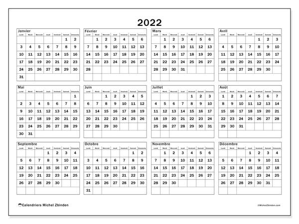 "Agenda Calendrier 2022 Calendrier 2022 à imprimer ""34LD""   Michel Zbinden LU"