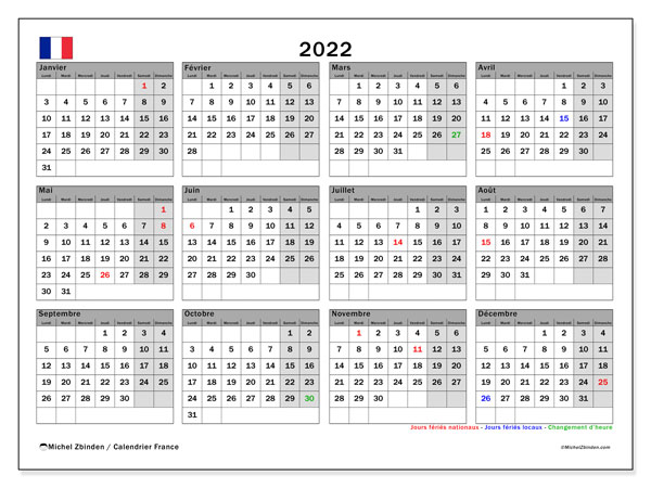 """Calendrier 2022 Jours Fériés France Calendrier 2022 à imprimer """"France""""   Michel Zbinden FR"""
