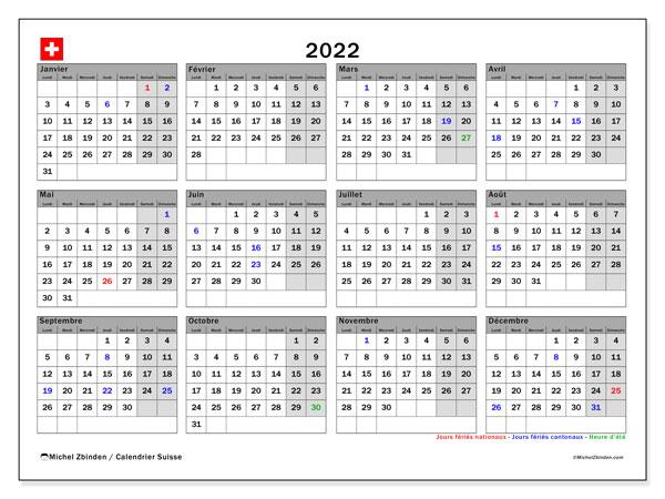 """Calendrier Suisse 2022 Calendrier 2022 à imprimer """"Suisse""""   Michel Zbinden CH"""