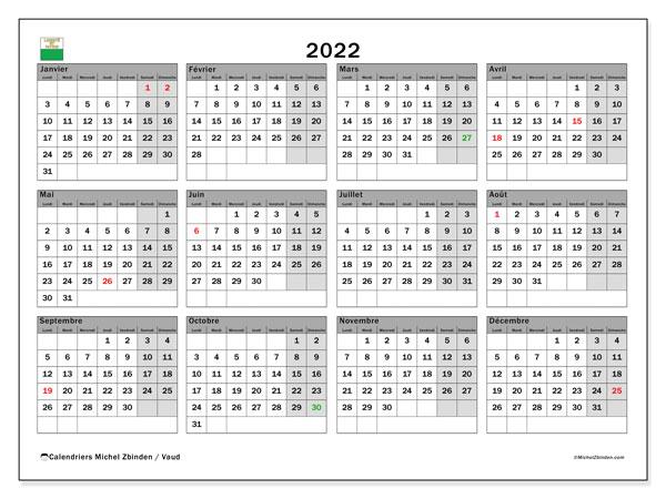 "Calendrier Familial 2022 A Imprimer Calendrier 2022 à imprimer ""Canton de Vaud""   Michel Zbinden CH"