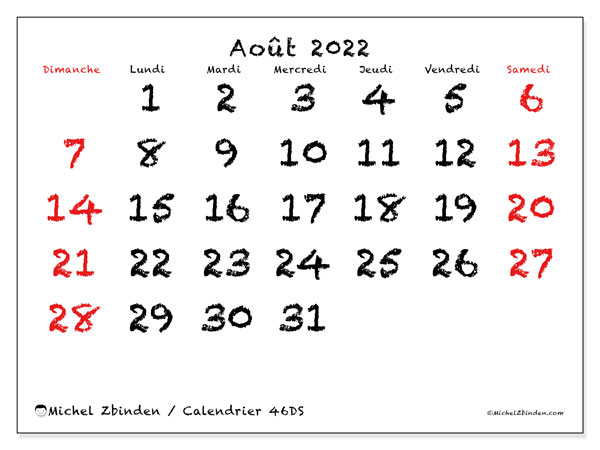 """Calendrier Mois Aout 2022 Calendrier """"46DS"""" août 2022 à imprimer   Michel Zbinden CH"""
