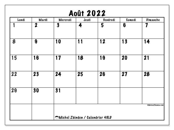 "Calendrier Mois Aout 2022 Calendrier août 2022 à imprimer ""48LD""   Michel Zbinden CH"