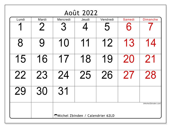 "Calendrier Mois Aout 2022 Calendrier août 2022 à imprimer ""62LD""   Michel Zbinden CH"