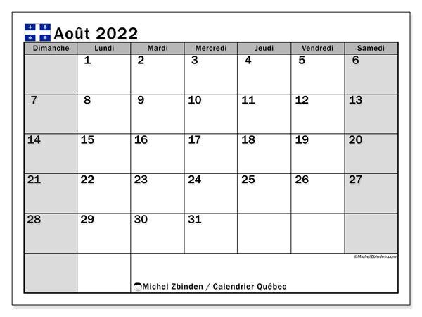 """Calendrier Mensuel Aout 2022 Calendrier août 2022 à imprimer """"Québec""""   Michel Zbinden CA"""