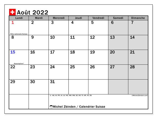 """Calendrier Suisse 2022 Calendrier août 2022 à imprimer """"Suisse""""   Michel Zbinden CH"""