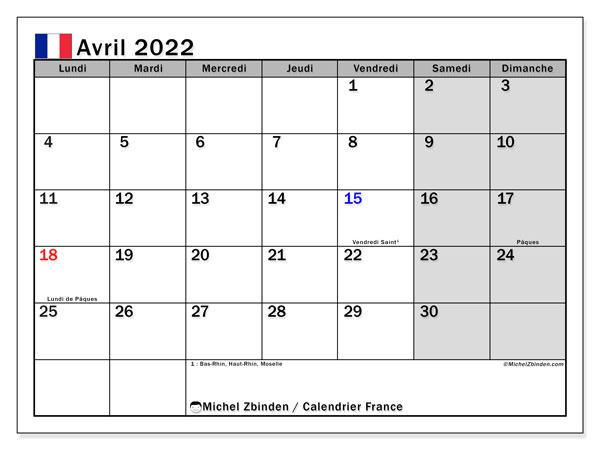 Calendrier Mars Avril 2022 Calendriers avril 2022 à imprimer   Michel Zbinden FR