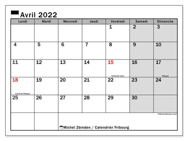 """Calendrier Avril 2022 à Imprimer Gratuit Calendrier avril 2022 à imprimer """"Canton de Fribourg""""   Michel"""