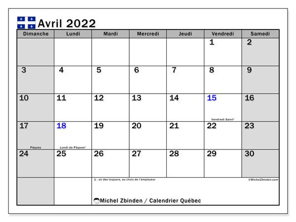 "Calendrier Avril 2022 à Imprimer Gratuit Calendrier avril 2022 à imprimer ""Québec""   Michel Zbinden CA"