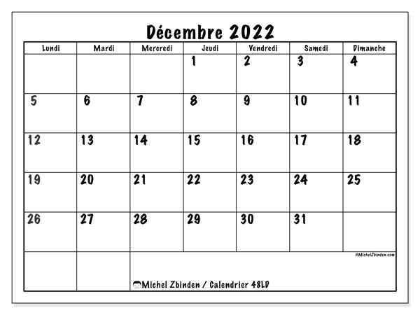 """Calendrier Décembre 2022 à Imprimer Calendrier décembre 2022 à imprimer """"48LD""""   Michel Zbinden MC"""