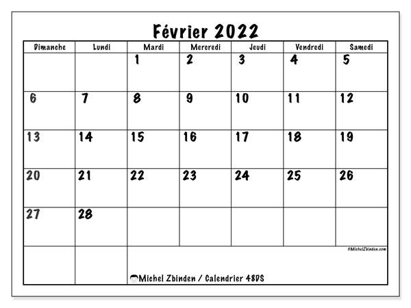 """Calendrier Février 2022 à Imprimer Gratuit Calendrier février 2022 à imprimer """"48DS""""   Michel Zbinden MC"""