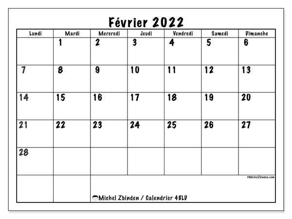 """Calendrier Février 2022 Calendrier février 2022 à imprimer """"48LD""""   Michel Zbinden MC"""