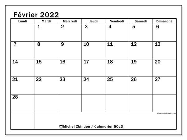 """Calendrier Fevrier 2022 à Imprimer Calendrier février 2022 à imprimer """"50LD""""   Michel Zbinden MC"""