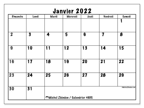 """Calendrier Mensuel 2022 Calendrier janvier 2022 à imprimer """"48DS""""   Michel Zbinden FR"""