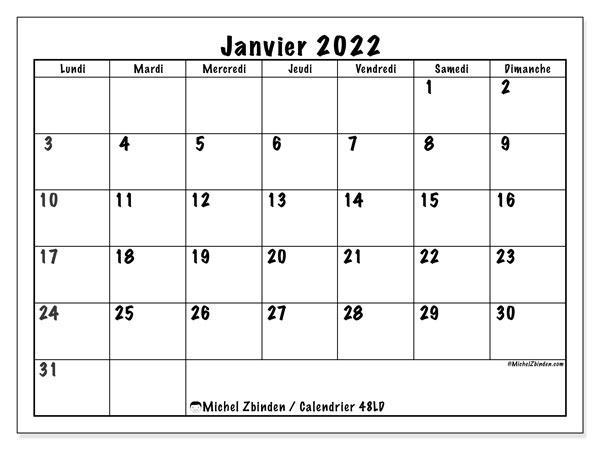 """Calendrier Janvier 2022 Calendrier janvier 2022 à imprimer """"48LD""""   Michel Zbinden MC"""