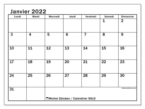 """Calendrier Janvier 2022 Gratuit Calendrier janvier 2022 à imprimer """"50LD""""   Michel Zbinden MC"""