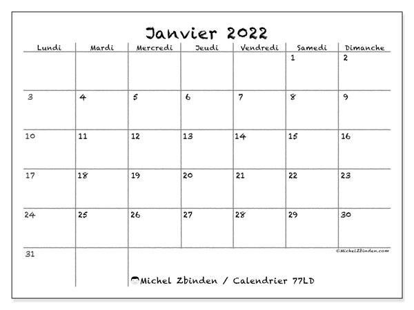 """Calendrier Mensuel 2022 à Imprimer Gratuit Calendrier janvier 2022 à imprimer """"77LD""""   Michel Zbinden MC"""