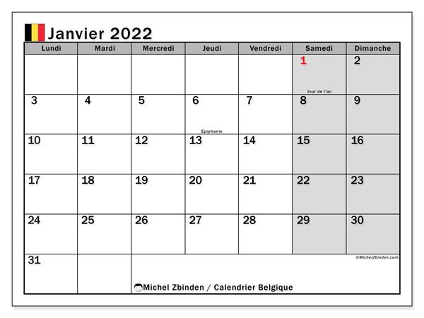 """Calendrier Vip 2022 Calendrier janvier 2022 à imprimer """"Belgique""""   Michel Zbinden BE"""