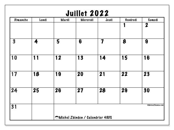 "Calendrier De Juillet 2022 Calendrier juillet 2022 à imprimer ""48DS""   Michel Zbinden MC"