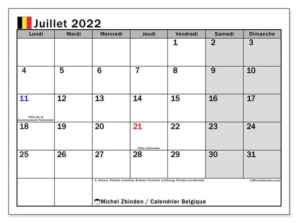 Calendrier à Imprimer Juillet 2022 Calendriers juillet 2022 à imprimer   Michel Zbinden BE