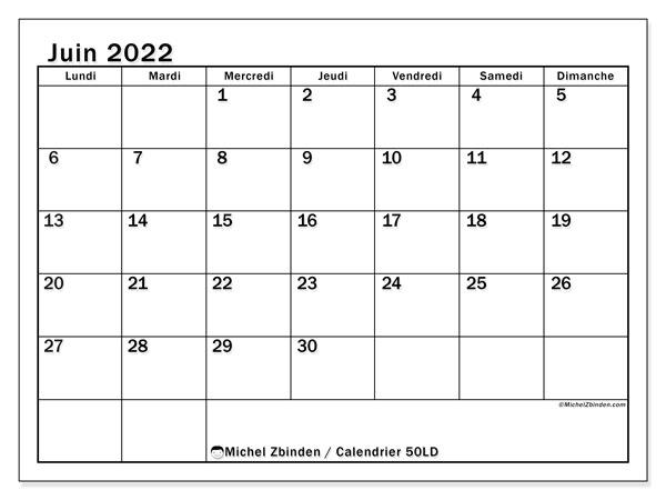 """Calendrier Juin 2022 à Imprimer Gratuit Calendrier juin 2022 à imprimer """"50LD""""   Michel Zbinden CH"""