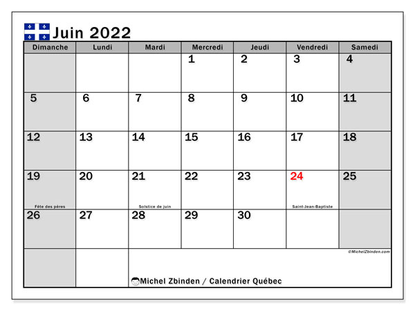 "Calendrier Juin 2022 Avec Jours Fériés Calendrier juin 2022 à imprimer ""Québec""   Michel Zbinden CA"