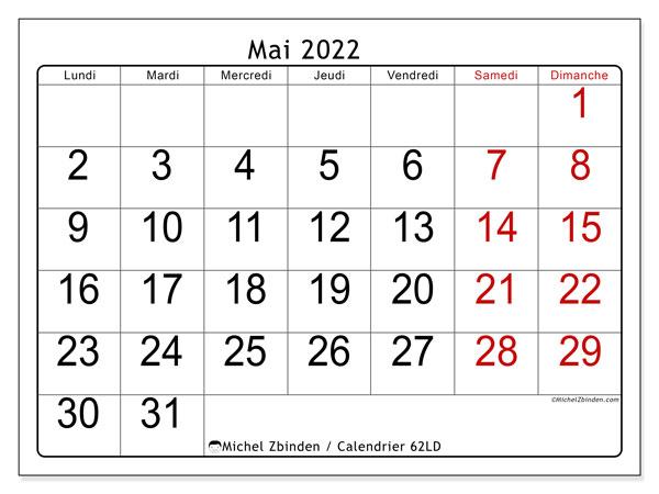"""Mai Calendrier 2022 Calendrier mai 2022 à imprimer """"62LD""""   Michel Zbinden CH"""