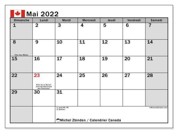 "Calendrier Mai 2022 Jours Fériés Calendrier mai 2022 à imprimer ""Canada""   Michel Zbinden CA"
