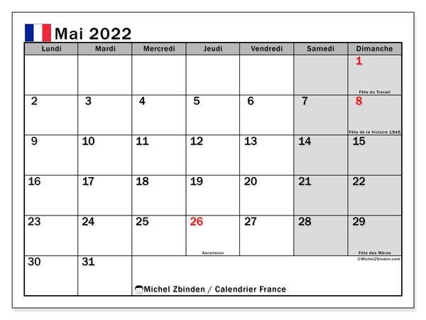 """Calendrier Mai 2022 Avec Jours Fériés Calendrier mai 2022 à imprimer """"France""""   Michel Zbinden FR"""
