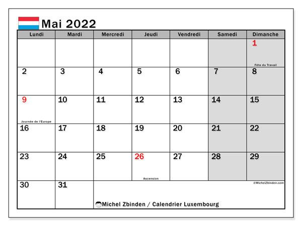 """Calendrier Mai 2022 Avec Jours Fériés Calendrier mai 2022 à imprimer """"Luxembourg""""   Michel Zbinden LU"""