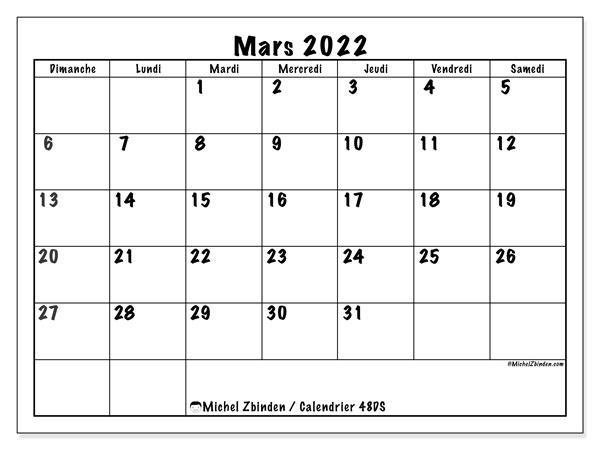 "Calendrier Mars Avril 2022 Calendrier mars 2022 à imprimer ""48DS""   Michel Zbinden MC"
