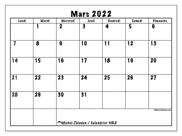 "Calendrier Mensuel Mars 2022 Calendrier mars 2022 à imprimer ""48LD""   Michel Zbinden CH"