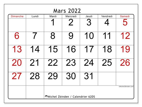 "Calendrier à Imprimer Mars 2022 Calendrier mars 2022 à imprimer ""62DS""   Michel Zbinden MC"