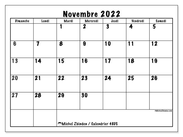 "Calendrier 2022 Novembre Calendrier novembre 2022 à imprimer ""48DS""   Michel Zbinden CH"