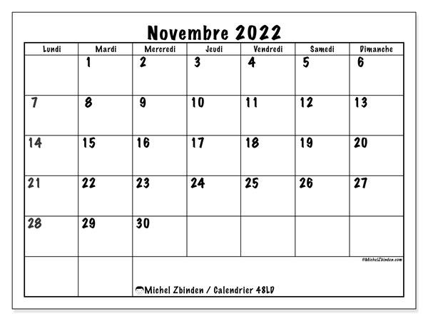 """Calendrier Novembre 2022 à Imprimer Calendrier novembre 2022 à imprimer """"48LD""""   Michel Zbinden MC"""