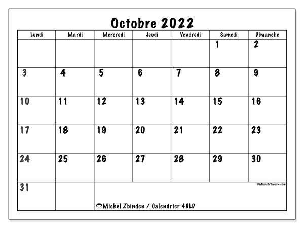 """Calendrier 2022 Octobre Calendrier """"48LD"""" octobre 2022 à imprimer   Michel Zbinden LU"""