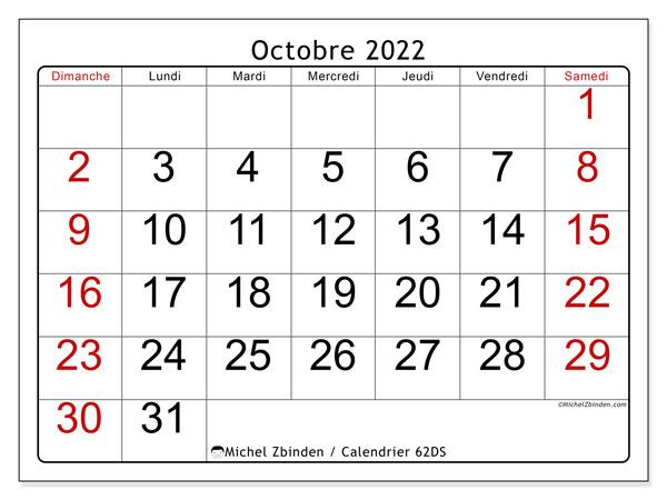 """Calendrier Octobre 2022 à Imprimer Calendrier octobre 2022 à imprimer """"62DS""""   Michel Zbinden MC"""